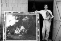 The American art forger Ken Perenyi with one of his works, 1988