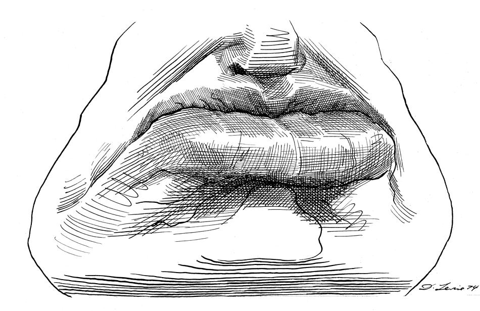 Benito Mussolini; drawing by David Levine