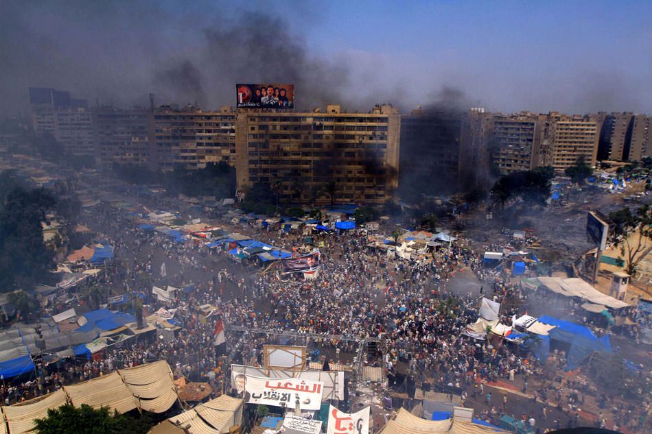 An encampment near Rabaa al-Adawiya Mosque, following clashes between supporters of ousted Egyptian president Mohamed Morsi and riot police, Cairo, August 14, 2013