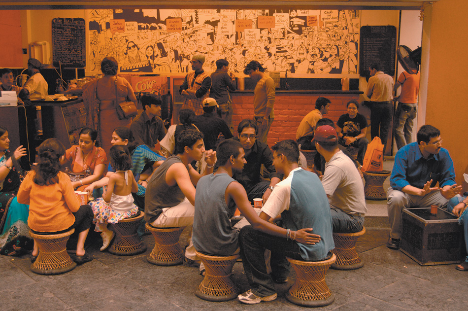 A café at one of Calcutta's new shopping malls, 2006