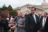 Michele Bachmann (left) and Ted Cruz (center) with Tea Party leaders, Washington, D.C., May 16, 2013