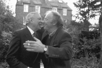 Roger Straus congratulating Joseph Brodsky on winning the Nobel Prize in Literature, London, 1987