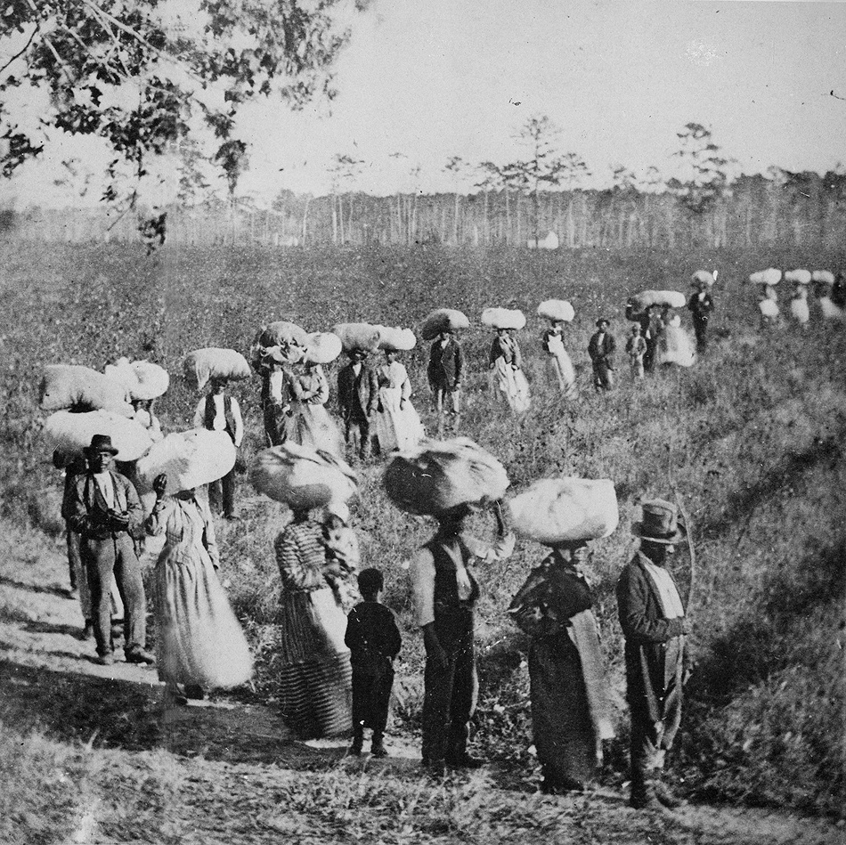 Slaves returning from a cotton field in the American South, early 1860s