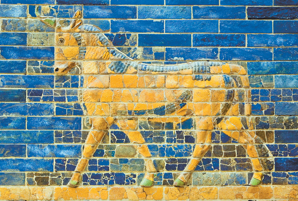 Detail of a reconstruction of the sixth-century-BC Ishtar Gate of Babylon, at the Pergamon Museum in Berlin. For more on Babylon, Nineveh, and the Hanging Gardens, see the article by Timothy Potts in this issue.