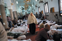 Bodies inside the Iman mosque in the Nasr City district of Cairo, before police raided the mosque and took the bodies to the morgue, August 15, 2013