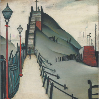 L.S.Lowry: A Footbridge, 21 x 17 inches, 1938