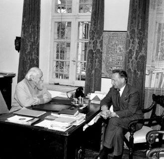 Dag Hammarskjöld (right) and Martin Buber, Jerusalem, January 2, 1959
