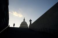 A tourist leaving the US Capitol, Washington, DC, September 30, 2013