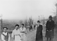 Franz Kafka (right) with, from right, his secretary Julie Kaiser, his sister Ottla, their cousin Irma, and the maid Mařenka, near Zürau, Bohemia, 1917