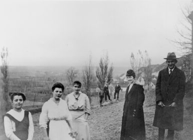 Franz Kafka (right) with, from right, his secretary Julie Kaiser, his sister Ottla, their cousin Irma, and the maid Mařenka, near Zürau, Bohemia, 1917