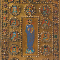 Book cover with Christ Pantokrator surrounded by saints (detail), Constantinople, late tenth–early eleventh century