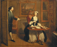 A scene from Samuel Richardson's novel Pamela, in which Mr. B. comes upon Pamela writing; painting by Joseph Highmore, 1744. Benjamin Franklin printed an edition of Pamela in 1742, and Jill Lepore writes that it is likely he gave a copy to his sister Jane.