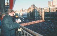 Václav Havel addressing a crowd in Wenceslas Square, Prague, December 10, 1989