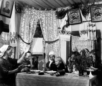 A family meal at a collective farm, Ukraine, USSR, 1947