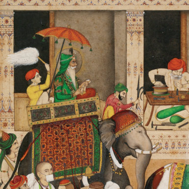 Maharaja Ranjit Singh in a Bazaar (detail), circa 1840–1845. Singh was the founder of the Sikh Empire in the Punjab in the early nineteenth century and the enemy of Dost Mohammad, whom the British hoped to replace as ruler of Afghanistan with their ally Shah Shuja.