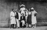 George Balanchine, seated, and other members of the State Academic Theater of Opera and Ballet, Petrograd, circa 1921