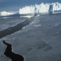 Greenland, photographed from a boat navigating the melt where dog sleds used to travel across the ice, October 2009