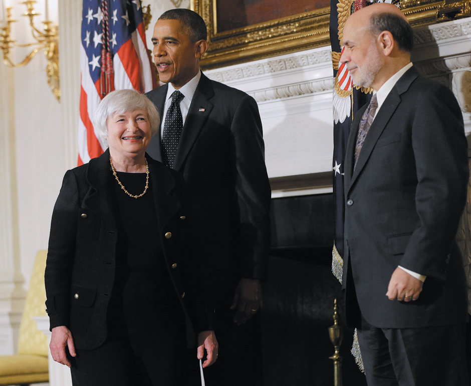 President Obama with outgoing Federal Reserve Chair Ben Bernanke and Vice-Chair Janet Yellen, who Obama had just announced was his nominee to replace Bernanke, the White House, October 9, 2013