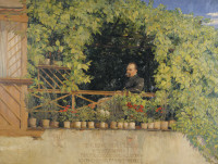 Friedrich Nietzsche on the veranda of his parents' house in Naumburg; portrait by Curt Stoeving, 1894. The inscription is from Thus Spoke Zarathustra: 'My suffering and my pity/What do I care!/Am I striving for happiness?/I am striving for my work.'