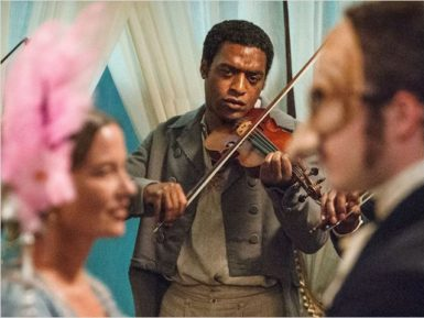 Chiwetel Ejiofor as the enslaved fiddler Solomon Northup in 12 Years a Slave