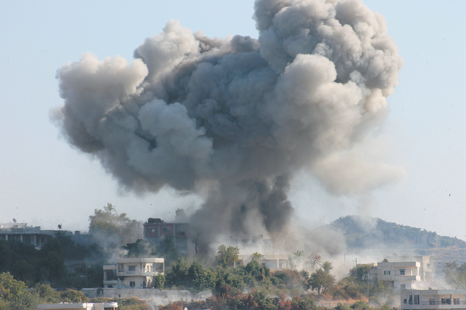 Shelling in the village of Douri in Syria's Latakia province, allegedly by forces loyal to President Bashar al-Assad, August 17, 2013