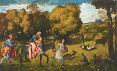 Titian: The Flight into Egypt, circa 1506–1507  Shortly after a disastrous war ravaged the countryside near Venice, the very young Titian—his own hometown, Pieve di Cadore, sacked in the fighting—painted this idyllic view of Jesus, Mary, and Joseph as refugees escaping from Palestine to Egypt. The little family also provides a portrait of the human condition; here the journey through life is guided, as Titian presents it, by a wingless angel.
