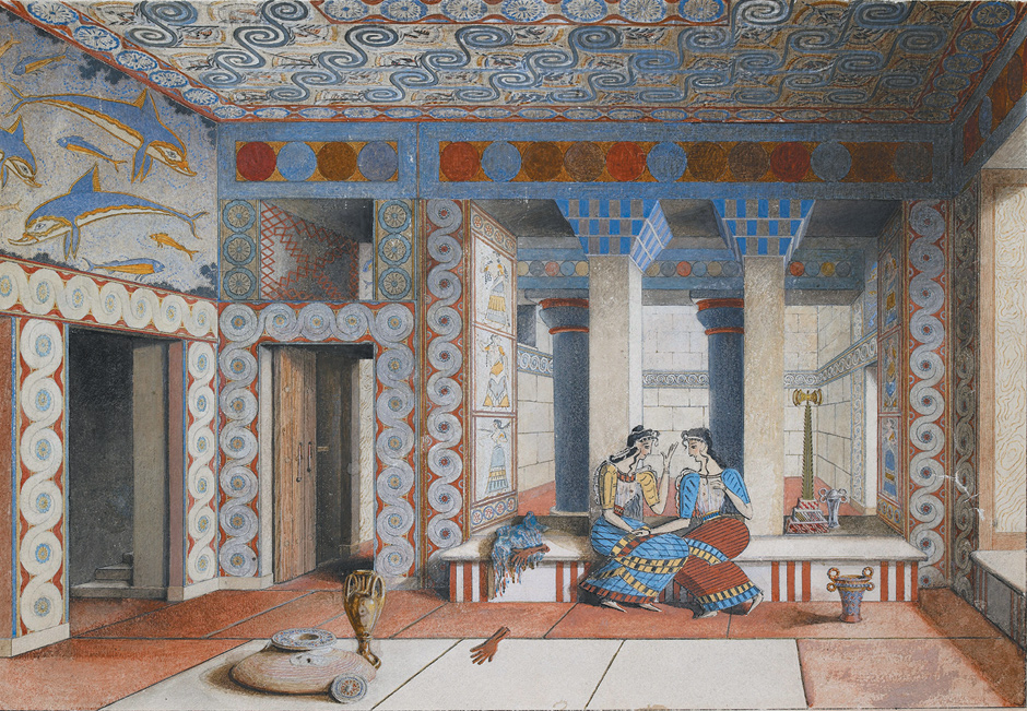 The Queen's Megaron room at Knossos; watercolor, early twentieth century. It was at the Knossos site that Arthur Evans found tablets covered with a script he called 'Linear B.'