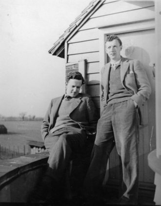 Benjamin Britten, right, with his partner, the tenor Peter Pears, at the Old Mill, his house in Suffolk, England, circa 1943