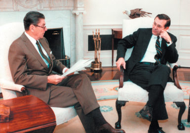 Ronald Reagan and Donald Rumsfeld, then his Middle East envoy, Washington, D.C., November 3, 1983