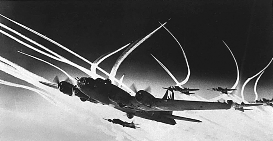 Allied B-17 bombers flying toward Germany with an escort of long-range fighters
