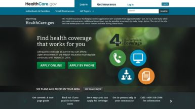 A section of the HealthCare.gov home page, as of November 21, 2013