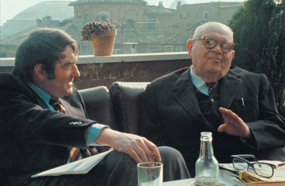 Claude Lanzmann and Benjamin Murmelstein, Rome, 1975; from Lanzmann's film The Last of the Unjust