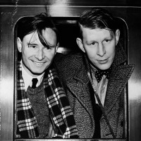 Christopher Isherwood and W.H. Auden in London on their departure for China, 1938