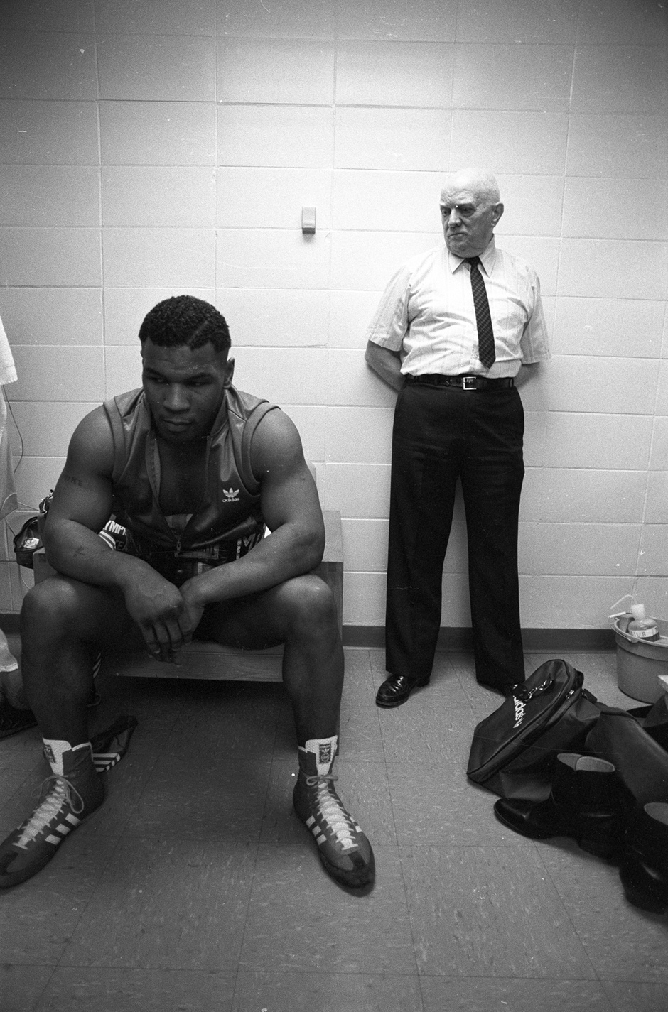 Mike Tyson and his trainer, Cus D'Amato, before Tyson's first professional fight, Albany, New York, 1985