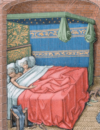 A colored engraving of a couple in bed from Miracles de Notre Dame, fifteenth century