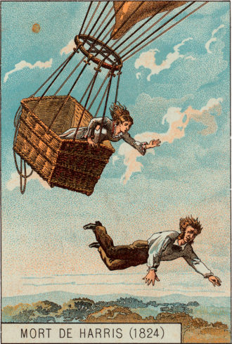 'Death of Harris'; a card from a popular French series of balloon collecting cards, 1895, showing, as Richard Holmes writes in Falling Upwards, 'a glamorous young naval officer' named Thomas Harris, whose flight over London in May 1824 with 'a dazzlingly pretty eighteen-year-old cockney girl' ended in a sudden descent that killed Harris but not his passenger
