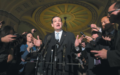 Senator Ted Cruz telling reporters he would not delay consideration of the agreement to raise the debt limit and end the government shutdown that Senators Harry Reid and Mitch McConnell had just announced, the Capitol, October 16, 2013