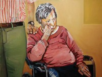 Beverly McIver: uncompleted portrait of Chris with his mom, oil on canvas, 2013