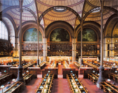 Candida Höfer: BNF Paris XXIII 1998; the reading room at the Bibliothèque Nationale de France in Paris, designed by Henri Labrouste, 1862–1868