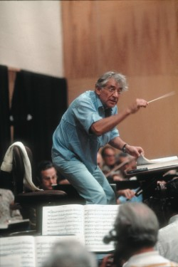 Leonard Bernstein conducting a rehearsal of the Metropolitan Opera Orchestra, 