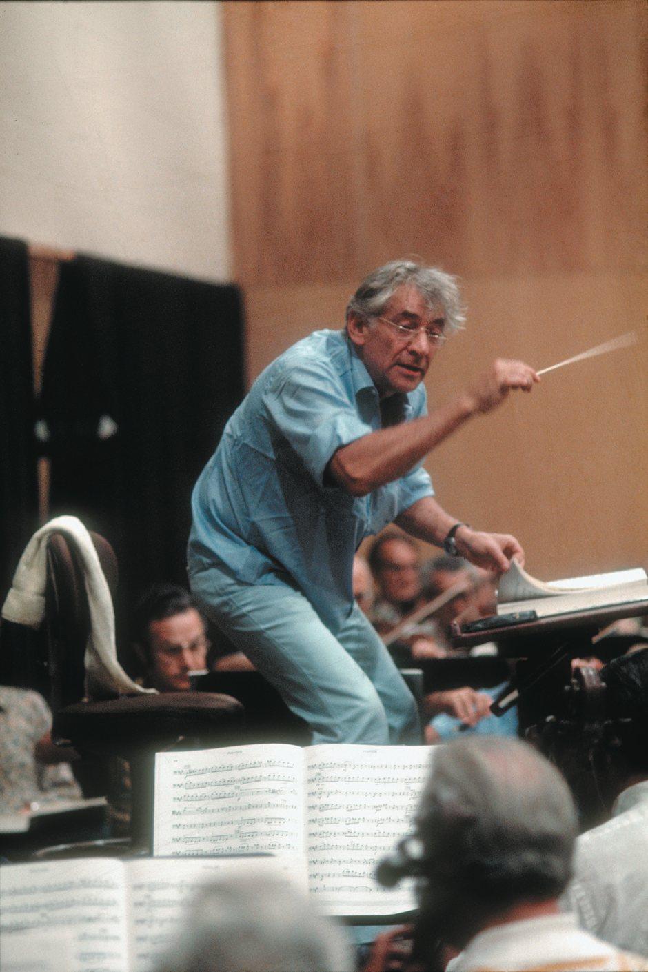 Leonard Bernstein conducting a rehearsal of the Metropolitan Opera Orchestra,  New York City, 1972