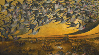 Lewis Cross: Passenger Pigeons in Flight, painted in 1937