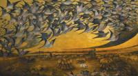 Lewis Cross: Passenger Pigeons in Flight, painted in 1937