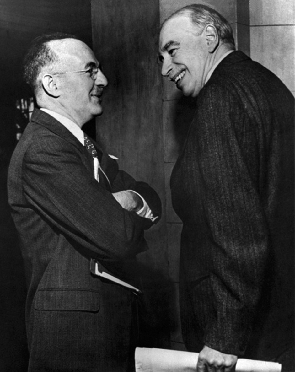 Assistant US Treasury Secretary Harry Dexter White and John Maynard Keynes, adviser to the UK Treasury, at the inaugural meeting of the International Monetary Fund's Board of Governors, Savannah, Georgia, March 1946. White and Keynes had clashed at the Bretton Woods Conference in July 1944, which conceived the IMF as part of a new postwar international monetary system.