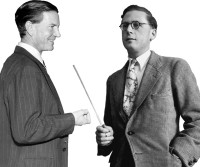 Kim Philby (left) at a press conference in London, 1955; Hugh Trevor-Roper (right) at Oxford, 1950