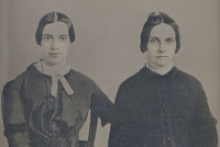 Emily Dickinson (left) and Kate Scott Turner Anthon, 1859. Analysis suggests that this daguerrotype, recently brought to the attention of scholars, is the only photographic image of Dickinson as an adult