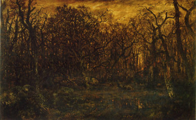 Théodore Rousseau: The Forest in Winter at Sunset, c. 1846–67