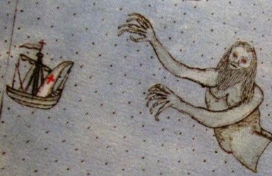 A haunting humanoid sea monster; from Urbano Monte's manuscript atlas, 1590