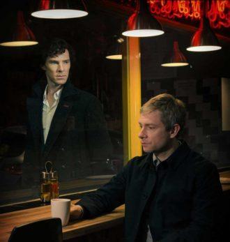 Benedict Cumberbatch as Sherlock Holmes and Martin Freeman as Dr. John Watson in Sherlock, now on PBS