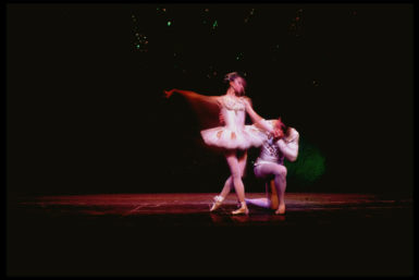 Suzanne Farrell and Jacques d'Amboise in a production of Jewels choreographed by George Balanchine, 1969